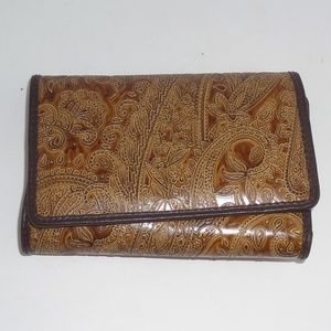 Bass Faux Leather Embossed Brown Tri-Fold Wallet
